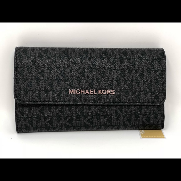 0808d9e046b1 Michael kors jet set travel large trifold wallet